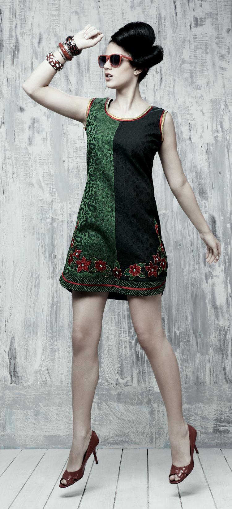 Черно-зеленое платье купить
